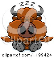 Cartoon Of A Cute Sleeping Winged Buffalo Calf Royalty Free Vector Clipart by Cory Thoman