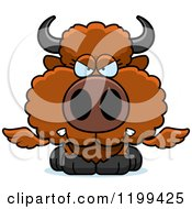 Cartoon Of A Mad Winged Buffalo Calf Royalty Free Vector Clipart by Cory Thoman