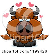 Poster, Art Print Of Loving Winged Buffalo Calf With Hearts