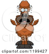 Cartoon Of A Scared Winged Buffalo Royalty Free Vector Clipart by Cory Thoman