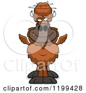 Cartoon Of A Drunk Winged Buffalo Royalty Free Vector Clipart