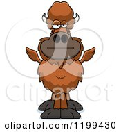 Cartoon Of A Bored Winged Buffalo Royalty Free Vector Clipart by Cory Thoman