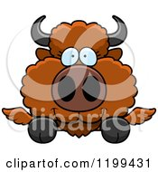 Cartoon Of A Cute Winged Buffalo Calf Hanging Over A Ledge Or Sign Royalty Free Vector Clipart by Cory Thoman