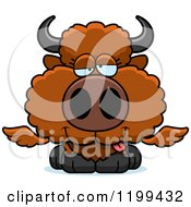 Cartoon Of A Drunk Winged Buffalo Calf Royalty Free Vector Clipart by Cory Thoman