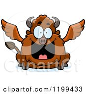 Cartoon Of A Happy Grinning Chubby Winged Buffalo Royalty Free Vector Clipart