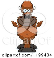 Cartoon Of A Happy Smiling Winged Buffalo Royalty Free Vector Clipart