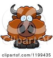 Cartoon Of A Cute Happy Winged Buffalo Calf Royalty Free Vector Clipart