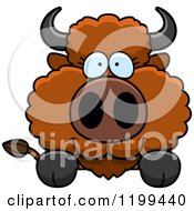 Cartoon Of A Cute Buffalo Calf Hanging Over A Surface Or Sign Royalty Free Vector Clipart