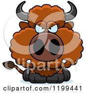 Cartoon Of A Mad Buffalo Calf Royalty Free Vector Clipart