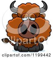 Cartoon Of A Depressed Buffalo Calf Royalty Free Vector Clipart