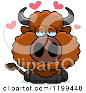 Poster, Art Print Of Cute Loving Buffalo Calf With Hearts