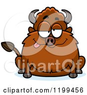 Cartoon Of A Drunk Chubby Buffalo Royalty Free Vector Clipart