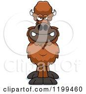 Cartoon Of A Mad Buffalo Royalty Free Vector Clipart