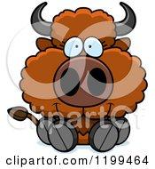Cartoon Of A Cute Sitting Buffalo Calf Royalty Free Vector Clipart