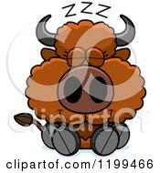 Cartoon Of A Cute Sleeping Buffalo Calf Royalty Free Vector Clipart