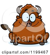 Cartoon Of A Happy Smiling Chubby Buffalo Royalty Free Vector Clipart