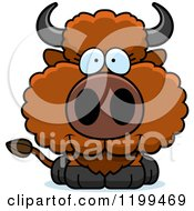 Cartoon Of A Cute Happy Buffalo Calf Royalty Free Vector Clipart
