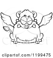 Cartoon Of A Black And White Mad Chubby Winged Buffalo Royalty Free Vector Clipart