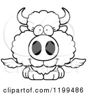Cartoon Of A Black And White Cute Happy Winged Buffalo Calf Royalty Free Vector Clipart
