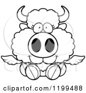 Cartoon Of A Black And White Cute Sitting Winged Buffalo Calf Royalty Free Vector Clipart