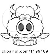 Cartoon Of A Black And White Depressed Winged Buffalo Calf Royalty Free Vector Clipart