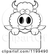Cartoon Of A Black And White Cute Winged Buffalo Calf Over A Sign Royalty Free Vector Clipart