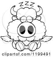 Cartoon Of A Black And White Cute Sleeping Winged Buffalo Calf Royalty Free Vector Clipart