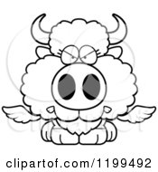 Cartoon Of A Black And White Mad Winged Buffalo Calf Royalty Free Vector Clipart