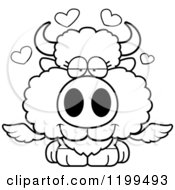 Cartoon Of A Black And White Loving Winged Buffalo Calf With Hearts Royalty Free Vector Clipart