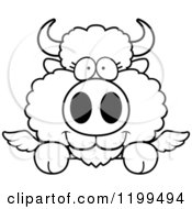 Cartoon Of A Black And White Cute Winged Buffalo Calf Hanging Over A Ledge Or Sign Royalty Free Vector Clipart