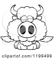 Cartoon Of A Black And White Drunk Winged Buffalo Calf Royalty Free Vector Clipart