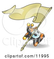 Joker Jester Character Waving A Blank Banner Clipart Illustration
