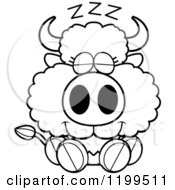 Cartoon Of A Black And White Cute Sleeping Buffalo Calf Royalty Free Vector Clipart
