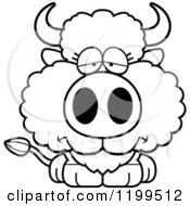 Cartoon Of A Black And White Depressed Buffalo Calf Royalty Free Vector Clipart