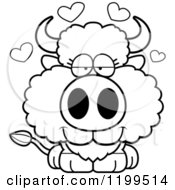 Cartoon Of A Black And White Cute Loving Buffalo Calf With Hearts Royalty Free Vector Clipart