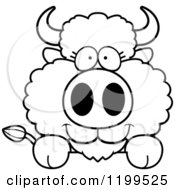 Cartoon Of A Black And White Cute Buffalo Calf Hanging Over A Surface Or Sign Royalty Free Vector Clipart