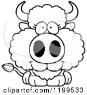 Cartoon Of A Black And White Cute Happy Buffalo Calf Royalty Free Vector Clipart