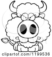 Cartoon Of A Black And White Mad Buffalo Calf Royalty Free Vector Clipart