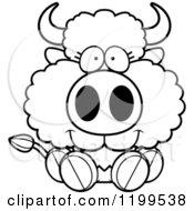 Cartoon Of A Black And White Cute Sitting Buffalo Calf Royalty Free Vector Clipart