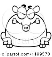 Cartoon Of A Black And White Mad Chubby Tapir Royalty Free Vector Clipart by Cory Thoman