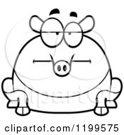 Cartoon Of A Black And White Bored Chubby Tapir Royalty Free Vector Clipart by Cory Thoman