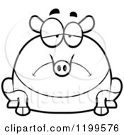 Cartoon Of A Black And White Depressed Chubby Tapir Royalty Free Vector Clipart by Cory Thoman