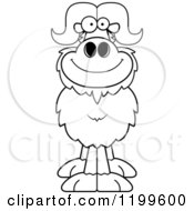 Cartoon Of A Black And White Happy Smiling Ox Royalty Free Vector Clipart