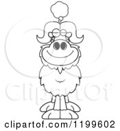 Cartoon Of A Black And White Dreaming Ox Royalty Free Vector Clipart