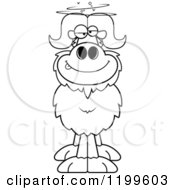 Cartoon Of A Black And White Drunk Ox Royalty Free Vector Clipart
