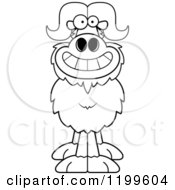 Cartoon Of A Black And White Grinning Ox Royalty Free Vector Clipart