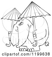 Outlined Elephant With Two Umbrellas