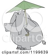 Cartoon Of An Elephant With A Green Umbrella Royalty Free Vector Clipart