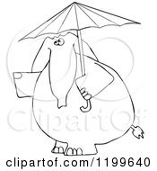Outlined Elephant With An Umbrella