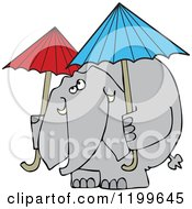 Cartoon Of An Elephant With Two Umbrellas Royalty Free Vector Clipart